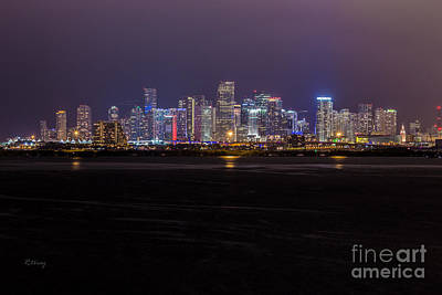 Miami Skyline Bay View Poster by Rene Triay Photography