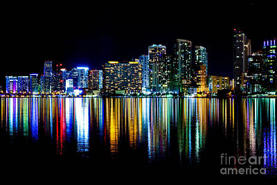 Miami Skyline High Res Poster by Rene Triay Photography
