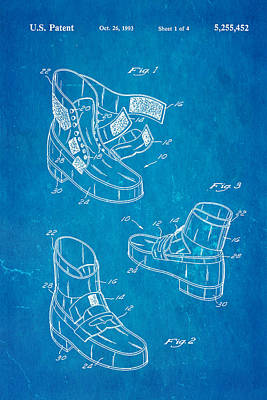 Michael Jackson Anti Gravity Boot Patent Art 1993 Blueprint Poster by Ian Monk