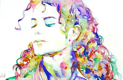 Michael Jackson - Watercolor Portrait.6 Poster by Fabrizio Cassetta