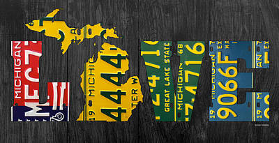 Michigan Love Recycled Vintage License Plate Art State Shape Lettering Phrase Poster by Design Turnpike