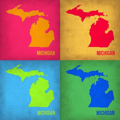 Michigan Pop Art Map 1 Poster by Naxart Studio