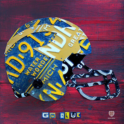 Michigan Wolverines College Football Helmet Vintage License Plate Art Poster by Design Turnpike