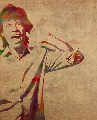 Mick Jagger Rolling Stones Watercolor Portrait On Worn Distressed Canvas Poster by Design Turnpike