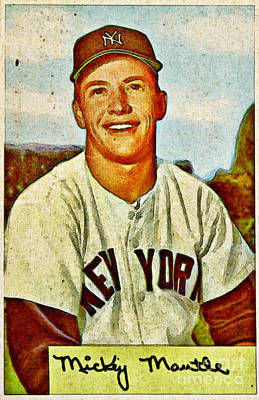 Mickey Mantle Baseball Card Poster by Kerry Gergen