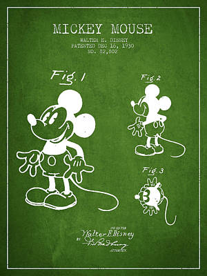 Mickey Mouse Patent Drawing From 1930 - Green Poster by Aged Pixel