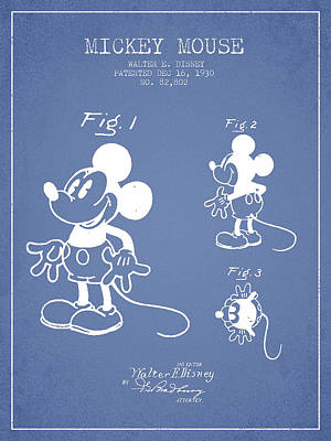 Mickey Mouse Patent Drawing From 1930 - Light Blue Poster by Aged Pixel