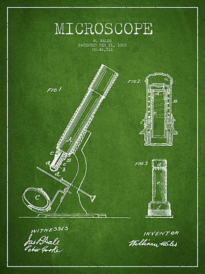 Microscope Patent Drawing From 1865 - Green Poster by Aged Pixel