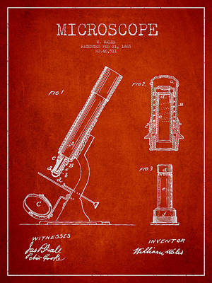 Microscope Patent Drawing From 1865 - Red Poster by Aged Pixel
