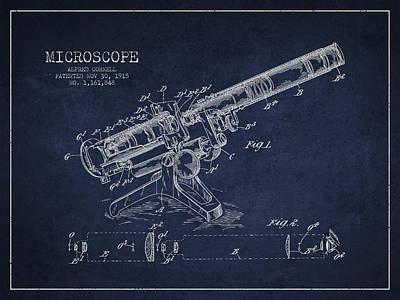 Microscope Patent Drawing From 1915 Poster by Aged Pixel