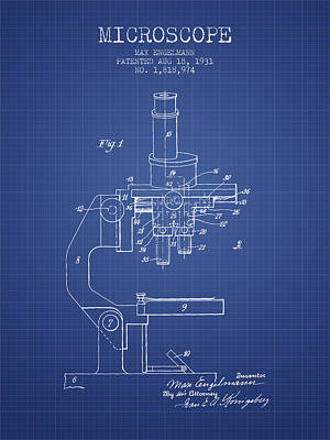Microscope Patent From 1931 - Blueprint Poster by Aged Pixel
