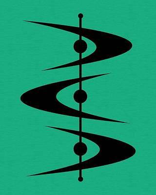 Mid Century Shapes 3 On Aqua Poster by Donna Mibus