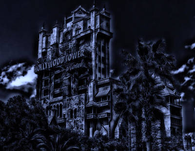 Midnight At The Tower Of Terror Poster by Thomas Woolworth