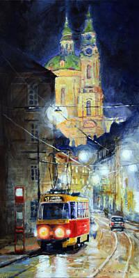 Midnight Tram  Prague  Karmelitska Str Poster by Yuriy Shevchuk
