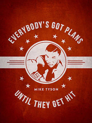 Mike Tyson - Red Poster by Aged Pixel