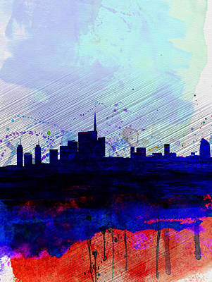 Milan Watercolor Skyline Poster by Naxart Studio