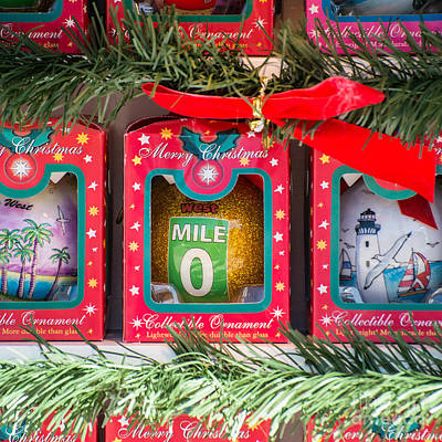 Mile Marker 0 Christmas Decorations Key West - Square Poster by Ian Monk