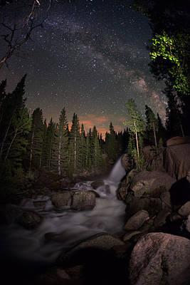 Milky Skies Over Alberta Falls Poster by Mike Berenson