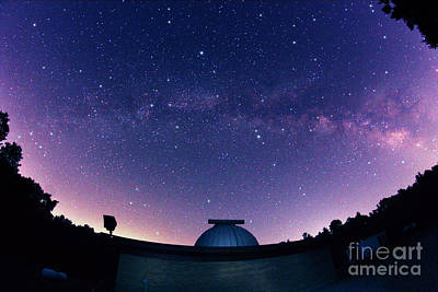 Milky Way Galaxy And Observatory Poster by John Chumack