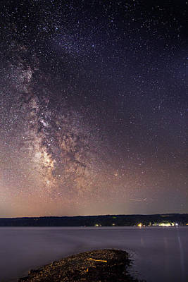 Milky Way On Cayuga Lake Ithaca New York Poster by Paul Ge