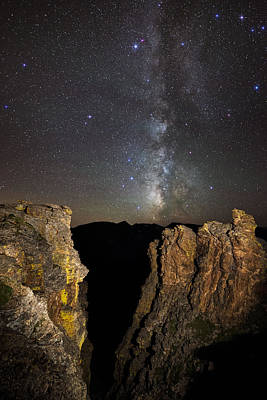 Milky Way Skies Over Rock Cut Poster by Mike Berenson