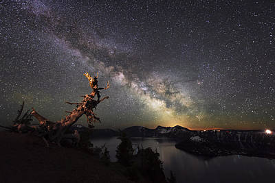 Crater Lake Twilight Poster featuring the photograph Milkyway In Crater Lake by Yoshiki Nakamura