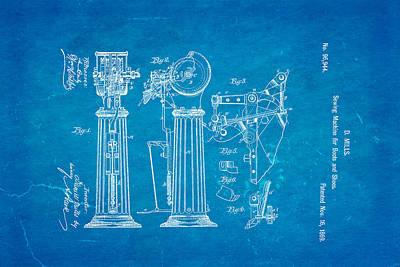 Mills Goodyear Sole Shoe Sewing Machine Patent Art 1869 Blueprint Poster by Ian Monk