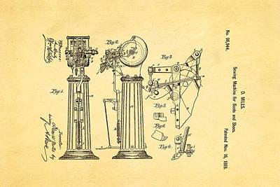 Mills Goodyear Sole Shoe Sewing Machine Patent Art 1869 Poster by Ian Monk