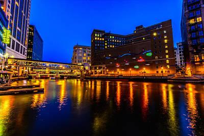 Milwaukee River Blue Hour Poster by Randy Scherkenbach