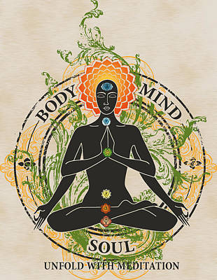 Mind Body And Soul Kundalini Poster by RSRLive Arts