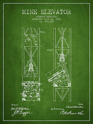 Mine Elevator Patent From 1892 - Green Poster by Aged Pixel
