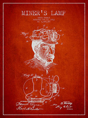 Miners Lamp Patent Drawing From 1913 - Red Poster by Aged Pixel