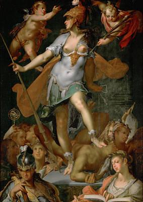 Minerva Victorious Over Ignorance Poster by Bartholomeus Spranger