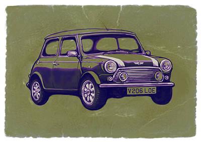 Mini Cooper - Car Art Sketch Poster Poster by Kim Wang
