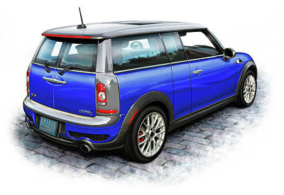 Mini Cooper Clubman Blue Poster by David Kyte