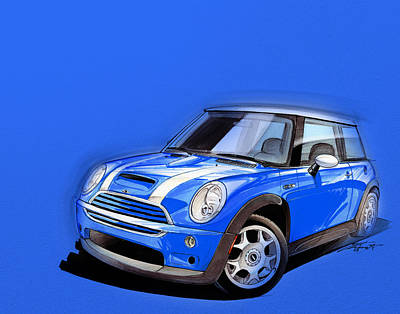 Mini Cooper S Blue Poster by Etienne Carignan