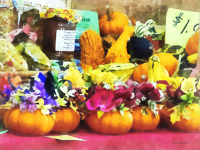 Mini Pumpkins And Gourds At Farmer's Market Poster by Susan Savad