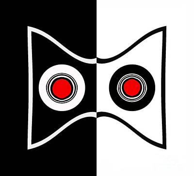 Minimalist Art Geometric Black White Red Abstract Print No.50. Poster by Drinka Mercep