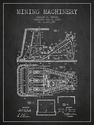 Mining Machinery Patent From 1915- Charcoal Poster by Aged Pixel