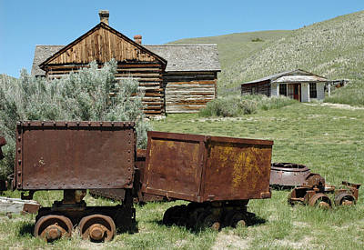 Mining Rail Cars Bannack Montana Poster by Bruce Gourley