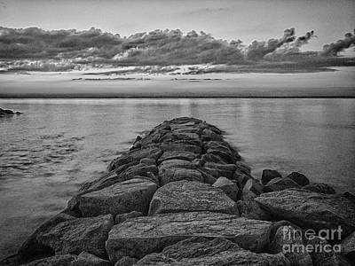 Mink Meadow Jetty In Black And White Poster by Mark Miller