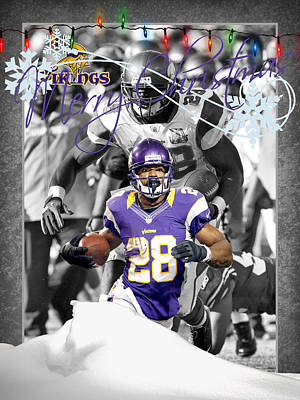 Minnesota Vikings Christmas Card Poster by Joe Hamilton