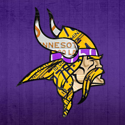 Minnesota Vikings Football Team Retro Logo Minnesota License Plate Art Poster by Design Turnpike