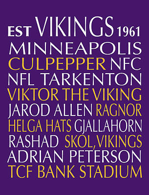 Minnesota Vikings Poster by Jaime Friedman