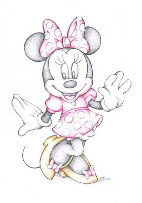 Minnie Mouse Disney Cartoon Colour Pencil Drawing  Poster by Steven Davis