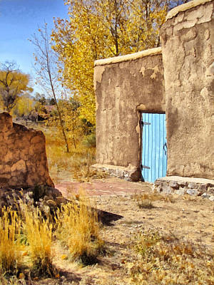 Morada De Taos With Blue Door Poster by Ann Powell