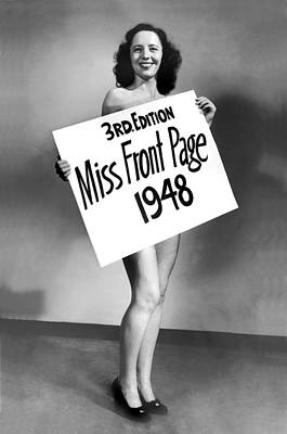 Miss Front Page Of 1948. Poster by Underwood Archives
