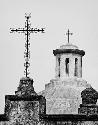 Mission Concepcion Crosses Poster by Andy Crawford
