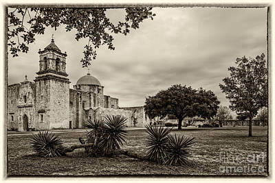 Mission San Jose In Vintage Yellowed Tint - San Antonio Missions Texas Poster by Silvio Ligutti