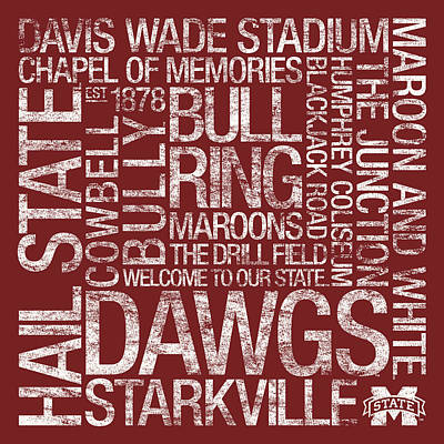 Mississippi State College Colors Subway Art Poster by Replay Photos